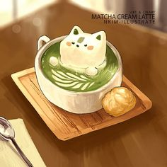 kitty green matcha - creditos a:nkim-illustrate Cute Food Drawings, Cute Animal Drawings Kawaii, Kawaii Art, Cute Food Art, Cute Art, Chibi Food, Kawaii Wallpaper, Cute Doodles, Food Illustrations