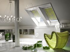 """VELUX blinds are so easy to install they're called """"Pick & Click"""" blinds. There's a wide range to suit any room or need, and to fit your old or new VELUX rooflight perfectly. Skylight Blinds, Blinds For Windows, Window Blinds, Luz Natural, Home Living Room, Living Spaces, Fitted Blinds, Roof Window, Blackout Blinds"""