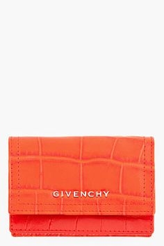 givenchy/ red croc-embossed leather envelope wallet