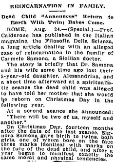 """A newspaper article about reincarnation, published in the Times-Picayune (New Orleans, Louisiana), 25 August 1913. Read more on the GenealogyBank blog: """"Researching Old Ghost Stories & Haunted Houses in Newspapers."""""""