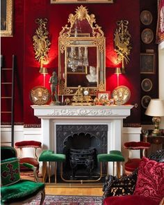 Red Wall Color, fireplace bench