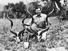 Ernest Hemingway kneels while holding a pair of antelope horns during a African safari much like the ones that appear in his short stories. Ernest Hemingway, Tristan Tzara, Joanna Krupa, Erin Heatherton, Kandinsky, Henri Matisse, Pro Hunters, Sports Illustrated, A Farewell To Arms