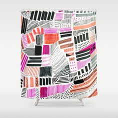 Freestyle Shower Curtain by Melanie Biehle. Expressive abstract geometric hand drawn design. Happy and free.