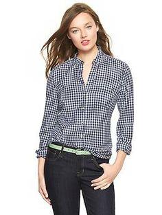 Shrunken boyfriend gingham flannel shirt, Size small (tall), blue or navy gingham