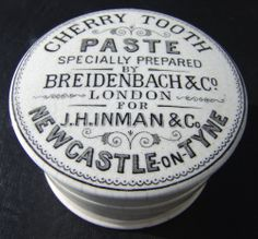 RARER 'J.H. INMAN' CHERRY TOOTH PASTE NEWCASTLE POT LID (BY 'BEIDENBACH & CO')