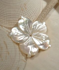 Hand Carved Mother of Pearl Large Flower Bead Button Center Drilled 37   Waltersbeads - Jewelry Supplies on ArtFire