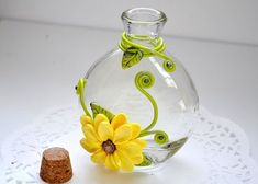 Vase Clay Decoration Polymer Clay Decoration by CraftyClayStudio. Polymer Clay Projects, Diy Clay, Decoration Table, Vases Decor, Bottle Art, Bottle Crafts, Glass Bottles, Glass Vase, Clay Jar