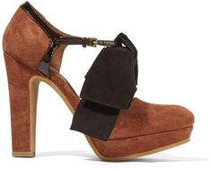 See by Chloé - Bow-embellished Patent Leather-trimmed Suede Pumps - Tan