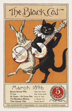 Cover from The Black Cat, probably by Nelly Littlehale Umbstaetter, Boston, 1896. Source: Boston Public Library.