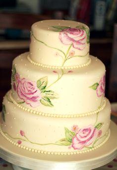 hand painted cake   Hand Painted Wedding Cake — Round Wedding Cakes