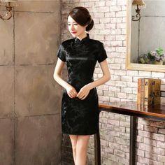48da5620cf2a8 Traditional Chinese Dress Women's Satin Long Cheongsam Qipao Flower