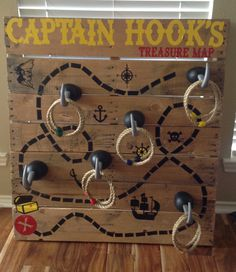 Carnival Game - Captain Hook's Treasure Map Ring Toss made from Pallet and Cricut Vinyl