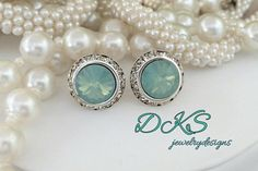 Pacific Opal, Swarovski Studs, Crystal Halo, Bridal, 14MM Overall, Mint Green, Wedding Gift, DKSJewelrydesigns, FREE SHIPPING