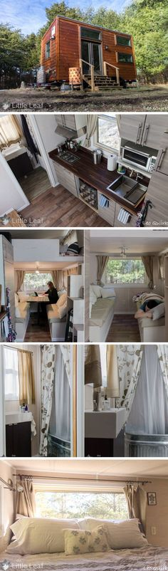 The Little Leaf Project tiny house. A 220 sq ft home, I love tiny homes for their innovative design! Small Tiny House, Modern Tiny House, Tiny House Living, Tiny House Plans, Tiny House Design, Tiny House On Wheels, Tyni House, Casas Containers, Tiny House Nation