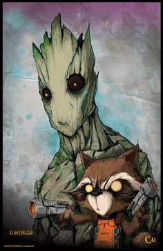 Can't wait for this movie!  Rocket Raccoon and Groot by Chris Uminga
