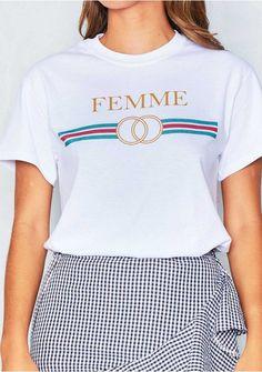 a08073b1a1a57 Alessandra White Femme Slogan T Shirt Missy Empire Detail Design