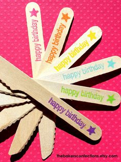 """GIRLS Rainbow Wooden Knives with """"happy birthday"""" and Star - Eco-friendly Birthday Party Knives (set of 36). $17.99, via Etsy."""