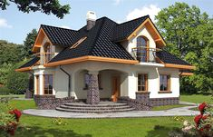 Ariadna I - Dobre Domy Flak & Abramowicz Bungalow Haus Design, Modern Bungalow House, Duplex House Design, Dream Home Design, Home Design Plans, Modern House Design, House Plans Mansion, House Floor Plans, Style At Home