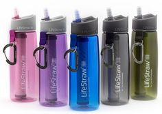 Refillable water bottle with replaceable 2-stage LifeStraw filter technology for outdoor recreation and travel.