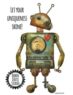"""Robot Gift - 8""""x10""""- Let your Uniqueness Shine - Robot kids room - Personalized gift -Inspirational Gift-Robot Wall Decor Robin Davis Studio"""