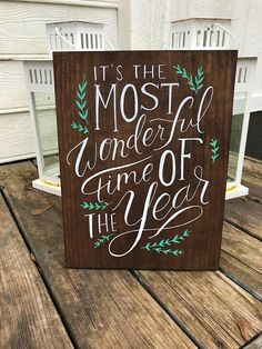 This item is unavailable Christmas Signs, Rustic Christmas, Christmas Party Decorations, Paint Stain, Stain Colors, Wood Wall Art, Wonderful Time, Wood Signs, Hand Painted