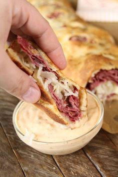Give the classic sandwich a fun makeover your family will love with this Reuben Stromboli recipe! Good Food, Yummy Food, Tasty, Healthy Food, Beef Recipes, Cooking Recipes, Irish Recipes, Recipies, Stromboli Recipe