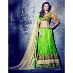 Green Stone Work Soft Net Lehenga Choli - 16080 ( ML-945 )