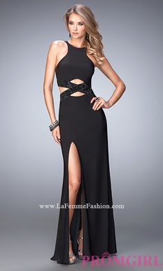 High Neck Black Prom Dress with Cut Outs by La Femme Style: LF-22206