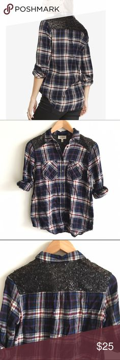 Express Flannel Button Down with Sequin Detailing Blue, red and black plaid boyfriend fit flannel shirt with black sequin across back. Convertible sleeves. EUC Express Tops Button Down Shirts