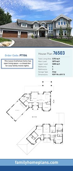 53 ideas house plans 4 bedroom craftsman spaces for 2019 Luxury Homes Exterior, Luxury Modern Homes, Luxury Houses, Modern Houses, Basement House Plans, Craftsman House Plans, Southern House Plans, Country House Plans, Luxury House Plans