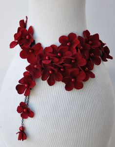 red flower necklace pearl woman accessories jewerly burgundy flowers scarf neck accessory. $49.00, via Etsy.
