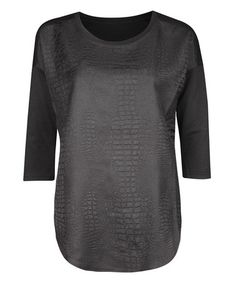 Black Snake Three-Quarter Sleeve Top #zulily #zulilyfinds   Life in Layers