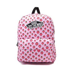 "Make a sweet statement this semester with the new Realm Strawberries Backpack from Vans! The Realm Strawberries Backpack sports a delightful strawberry printed exterior with Vans logo patch, and plenty of interior space for books and school supplies.   <br><br><u>Features include</u>:<br> > 100% Polyester<br> > Zipper closure<br> > Front utility pocket with zipper closure<br> > Vans ""Off the Wall"" logo patch<br> > Padded and adjustable shoulder straps<br> > Dimensions: W 12.5"" x D 4.5"" x H…"