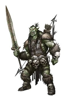 Male Orc Fighter or Barbarian - Pathfinder PFRPG DND D&D d20 fantasy