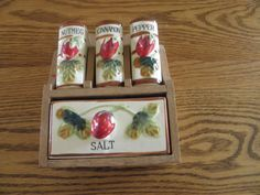 Strawberry Trimmed Ceramic Wall Spice Rack by JudiJumble on Etsy, $21.00