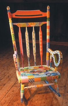 Antique rocker painted as seasonal quilt from Whimsikatz Painted Furniture.