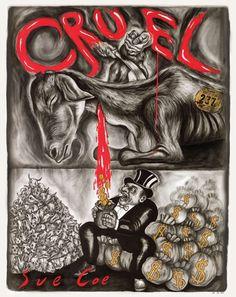 Artwork: Coe Cruel by Prestigious Award-Winning Vegan Artist Sue Coe Vegan Animals, Farm Animals, Sue Coe, Especie Animal, Animal Masks, Animal Agriculture, Factory Farming, Vegan Quotes, Why Vegan