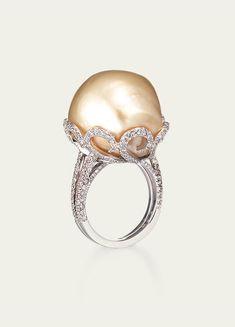 South Sea Golden Baroque Pearl w/ Diamonds