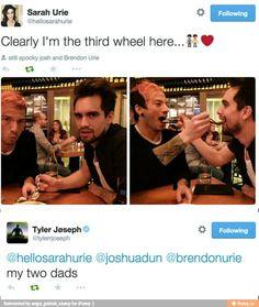 Brendon and Sarah Urie. Josh Dun and Tyler Joseph.