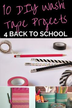 10 DIY washi tape projects for back to school, from writing utensils and notebooks to pencil holders and locker accessories. Some great ideas for home here too! http://tweenhood.ca/diy-washi-tape-projects-school-supplies/ #DIY #crafts #washitape