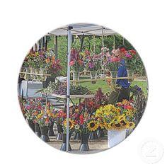"""Flower Stand Florals"" plate.  Designer Kay Novy  (kkphoto1).  Please visit my website...  http://www.zazzle.com/kkphoto1"