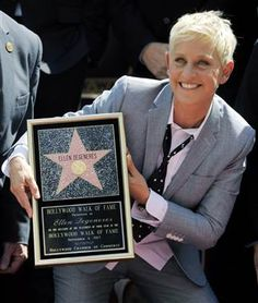 Ellen DeGeneres gets star on Hollywood Walk of Fame. (Chris Pizzello / AP) She so deserves this! Hollywood Sign, Hollywood Walk Of Fame, Hollywood Stars, Ellen Degeneres And Portia, Ellen And Portia, Portia De Rossi, The Ellen Show, Celebs, Celebrities