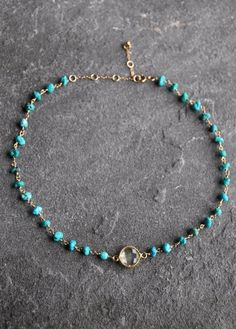 14k Gold Filled Turquoise Necklace Choker Citrine by JewelHopes