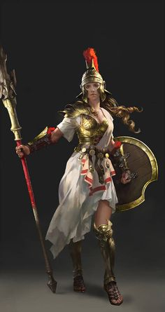Commercial work , a design of Athena for Chinese Client. Done in 2015 Character Design Athena Greek Warrior, Warrior Girl, Character Inspiration, Character Art, Deviantart Fantasy, Armadura Medieval, Athena Goddess, Female Armor, Fantasy Armor