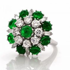 Vintage 5.35 ct Emerald Cabochon Diamond Platinum Cluster Ring   Dover Jewelry