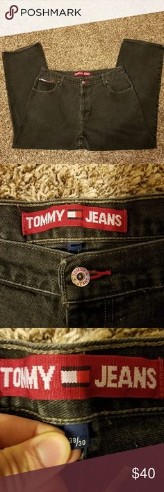 """Vintage 90s Tommy Hilfiger Black Jeans Denim Vintage 90s Tommy Hilfiger Men's Jeans - Black 38 x 30 Spellout Flag  Measurements when laid flat: Outseam: 40"""" Inseam: 29""""  Excellent Condition - see pictures for best descriptions  Message me with any questions!  Thanks for looking! Tommy Hilfiger Jeans Relaxed"""