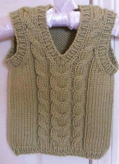 Knitted Boys and Girls Baby Sweater, Vest Cardigan Patterns Knitted Boys and Girls Baby Sweater, Vest Cardigan Patterns Welcome to the knitting vest models gallery. We have created beautiful male baby vest m. Baby Boy Knitting Patterns, Knitting For Kids, Knitting Designs, Baby Boy Vest, Toddler Vest, Baby Boys, Knit Baby Dress, Knitted Baby Clothes, Pull Bebe