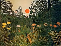 Henri Rousseau - Jungle Sunset (Paisaje tropical con un gorila atacando a un indio)