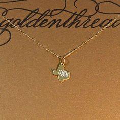 Golden Thread Gold Texas Initial Necklacev $69 monogram personlization bHm 16 in chain