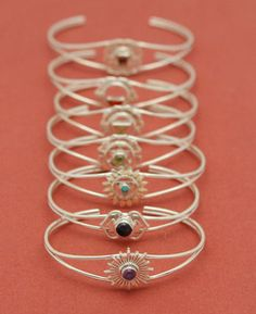 Sterling Silver Gemstone Chakra Bracelet